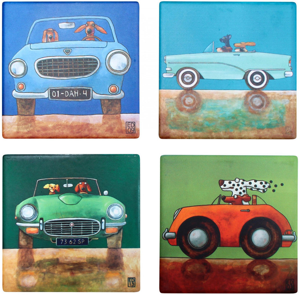 Coasters Riding With Dogs Assorted | brecha home