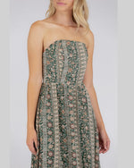 Strapless Printed Dress With Frill Hem