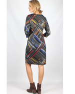 Stripe Print 3/4 Sleeve Dress|Teaberry|Brecha Australia