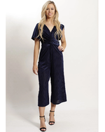 Textured Stripe Crossed Front Jumpsuit - Brecha Australia