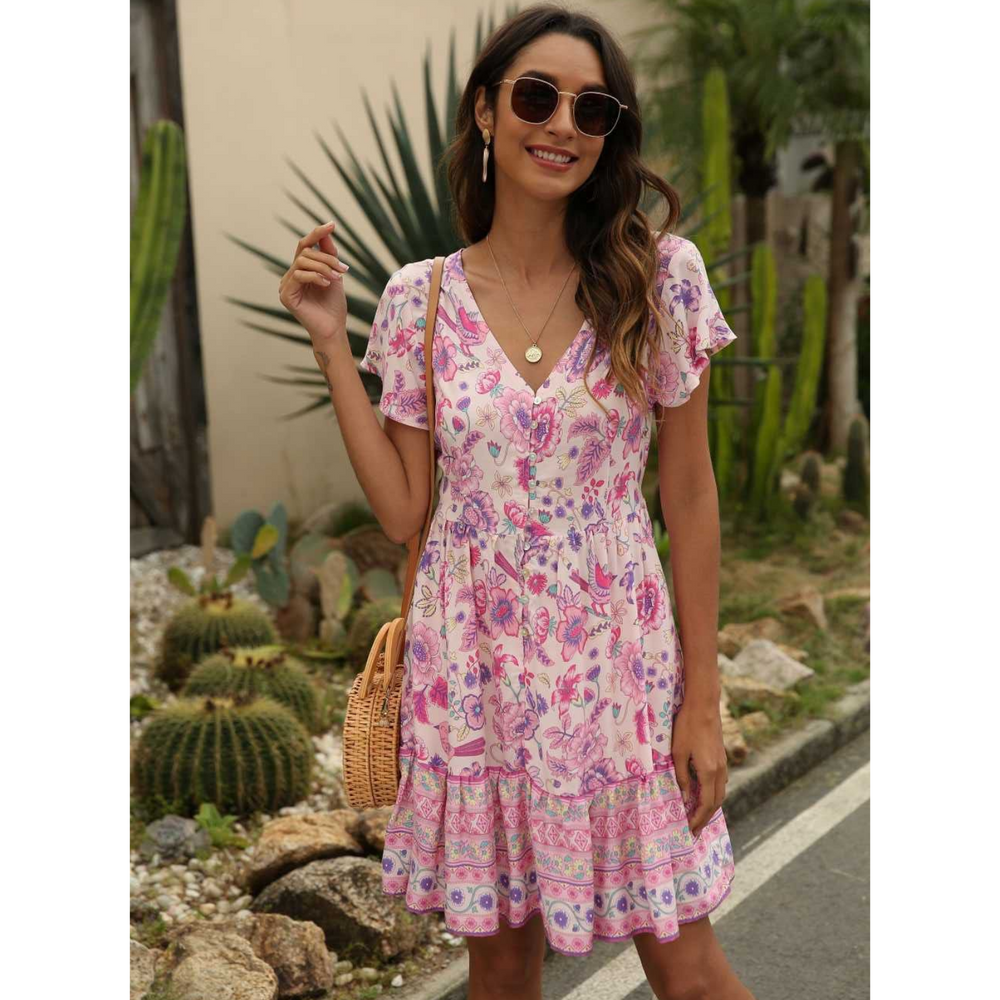 Pink Floral Mini With Sleeve