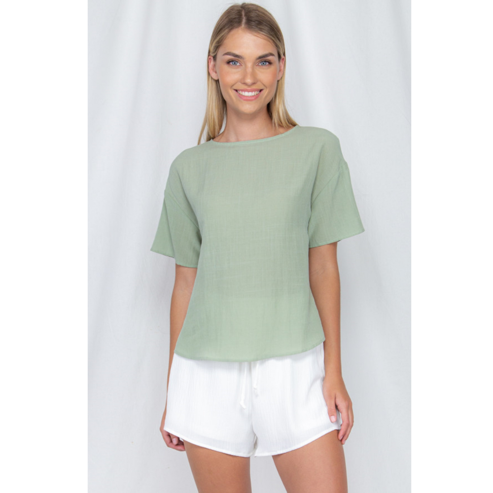 Textured Loose Fit Top With Round Hem