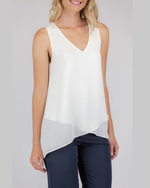 V-Neckline Sleeveless Top With Asymmetrical Hem Stylestate