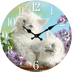 Two White Kittens Clock 30 CM