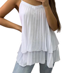 White Pleated Layer Top