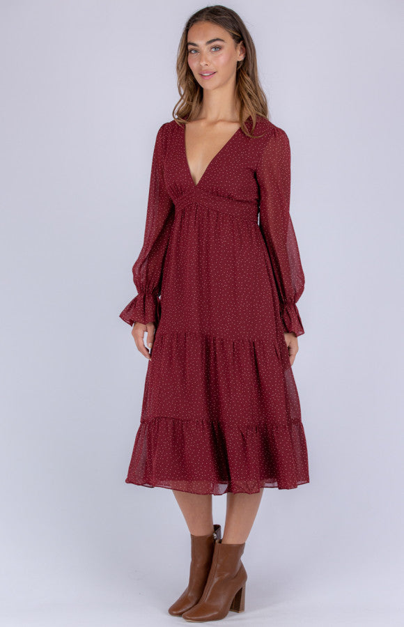 Spotted Midi Dress With Pleated Details Style State