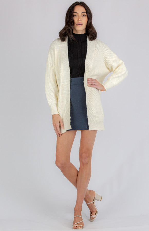 Bubble Sleeve Long Knit Cardigan