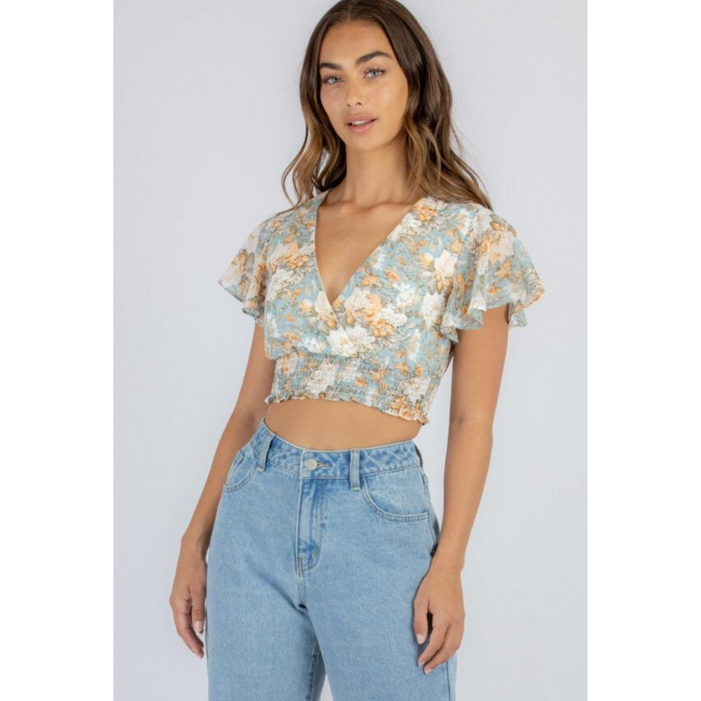 Butterfly Sleeve Floral Top with Shirred Waist