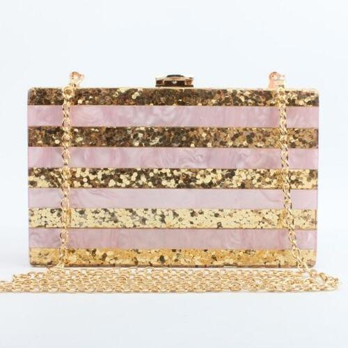 Gold Glitter Acrylic Block Evening Bag