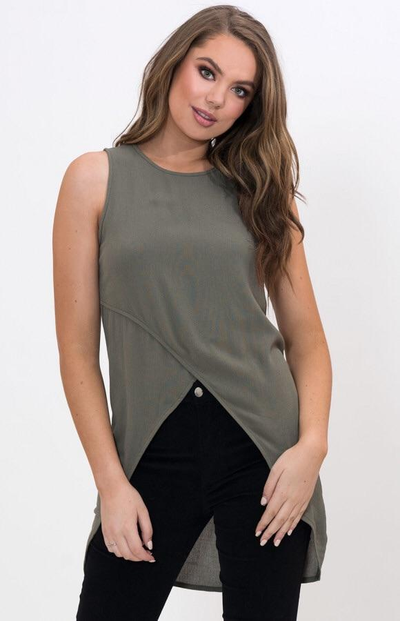 Stylestate Round Neckline Womens Tops with Asymmetrical Hemline