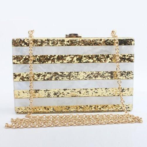 Gold Glitter Acrylic Block Evening Bag -  - Brecha Australia