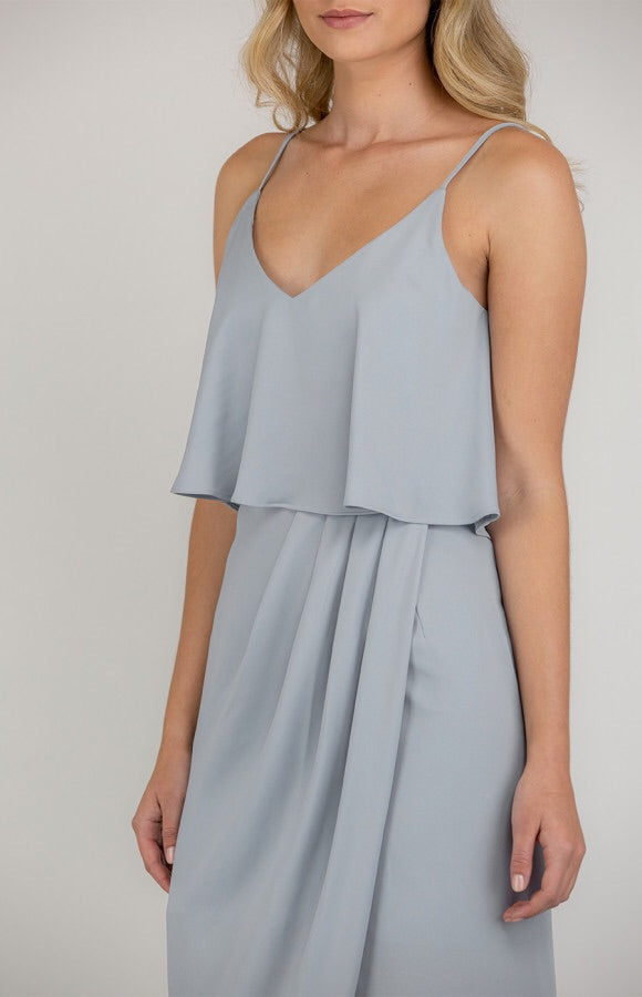 Singlet Strap Dress With Frill Layer Detail