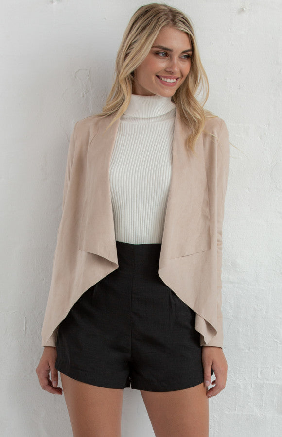 Suede Waterfall Lapel Jacket