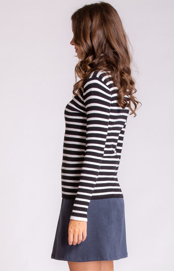 Fitted Striped High Neck Knit Top|Stylestate|Brecha Australia