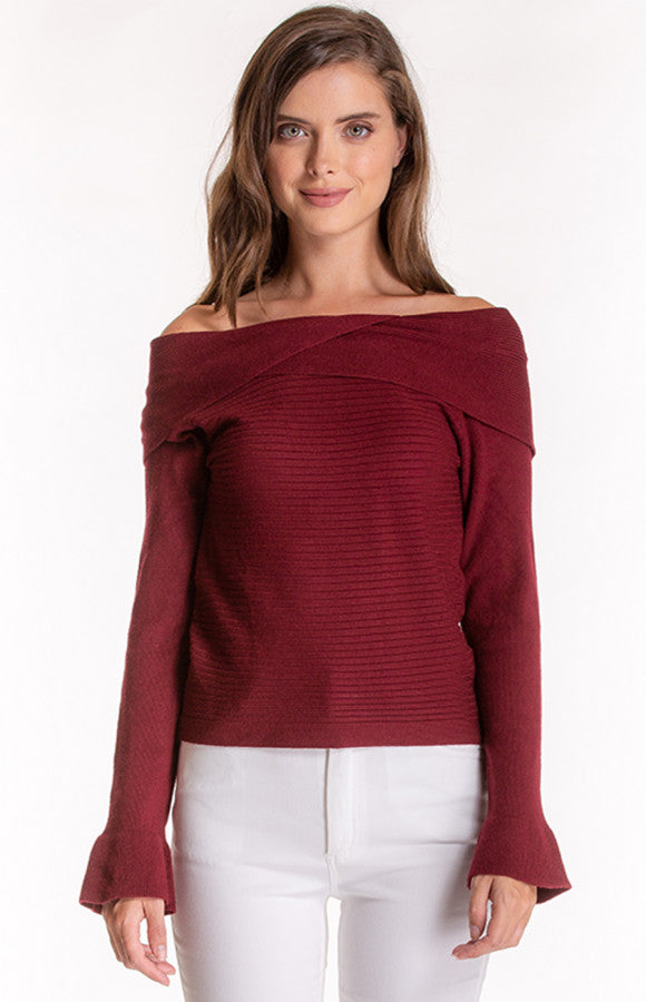 Off Shoulder Knit Top With Crossover Detail|Stylestate|Brecha Australia