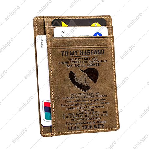 TO MY HUSBAND, LEATHER ENGRAVED CARD WALLET - THE DAY I MET YOU