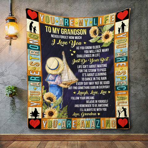 Image of QUILT - GRANDMA TO GRANDSON - JUST DO YOUR BEST