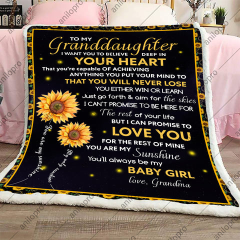 BLANKET - GRANDMA TO GRANDDAUGHTER - YOU WILL NEVER LOSE