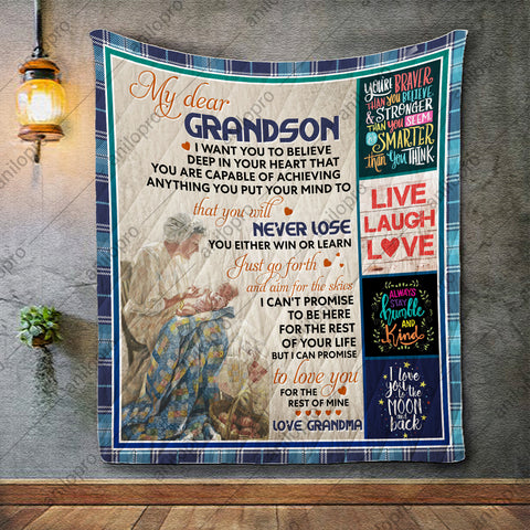 Image of QUILT - GRANDMA TO GRANDSON - NEVER LOSE