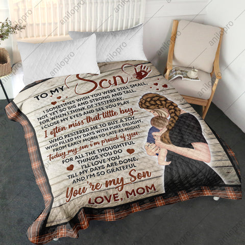 Image of [Q1023] QUILT - MOM TO SON - I'M PROUD OF YOU