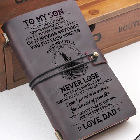 [J1018] FROM DAD, GENUINE LEATHER JOURNAL - LEARN FROM EVERYTHING