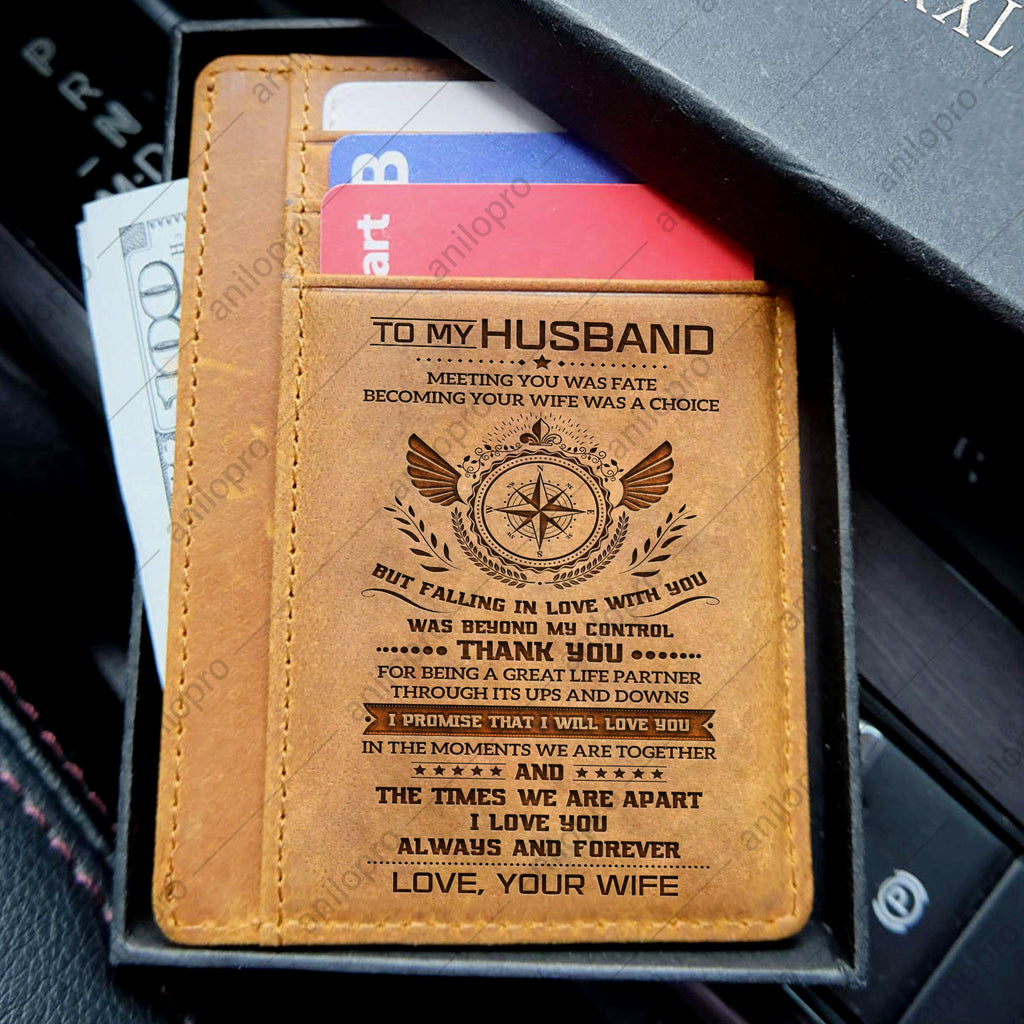 TO MY HUSBAND, LEATHER ENGRAVED CARD WALLET - I PROMISE THAT I WILL LOVE YOU