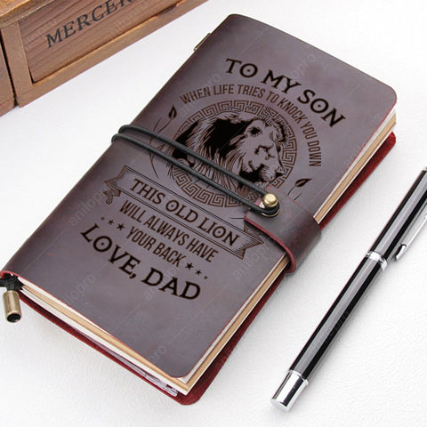 [J1002] FROM DAD, GENUINE LEATHER JOURNAL - THIS OLD LION