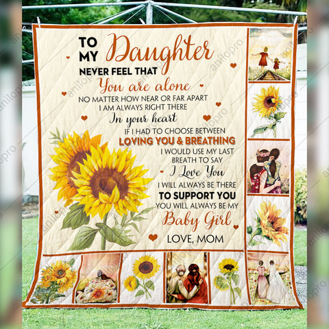 Image of QUILT - MOM TO DAUGHTER - NEVER FEEL THAT YOU ARE ALONE