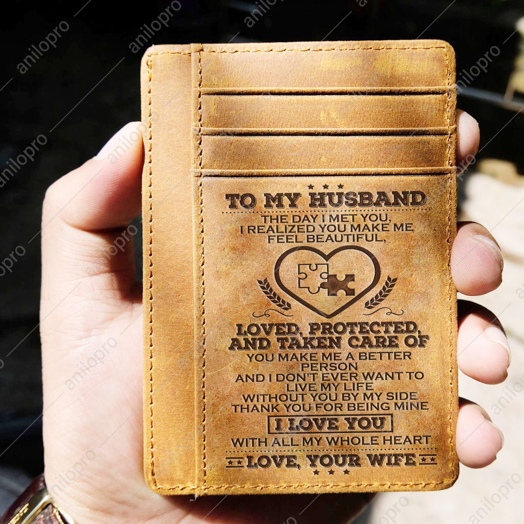 TO MY HUSBAND, LEATHER ENGRAVED CARD WALLET - THANK YOU FOR BEING MINE