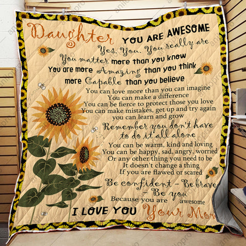 Image of QUILT - MOM TO DAUGHTER - YOU ARE AWESOME