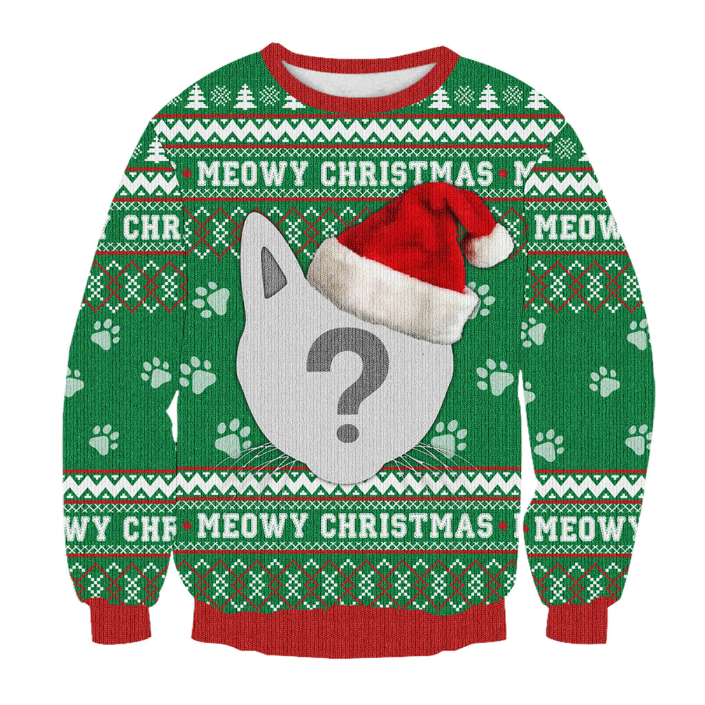 Custom Your Cat 3D Printed Christmas Sweatshirt