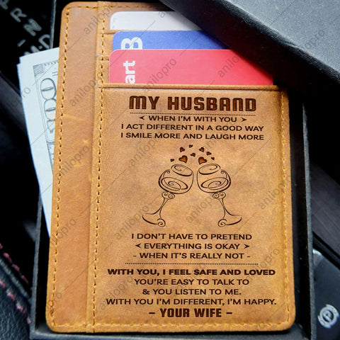 TO MY HUSBAND, LEATHER ENGRAVED CARD WALLET - WHEN I'M WITH YOU