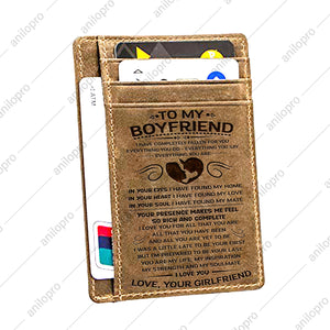 TO MY BOYFRIEND, LEATHER ENGRAVED CARD WALLET - EVERYTHING YOU ARE