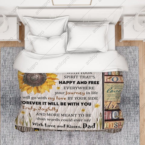 Image of [Q1005] QUILT - DAD TO DAUGHTER - MY LOVE WILL BE WITH YOU