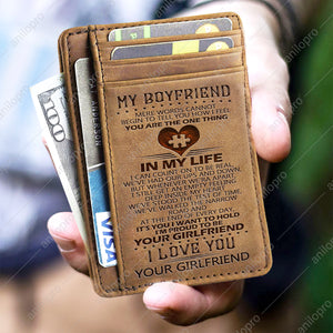 TO MY BOYFRIEND, LEATHER ENGRAVED CARD WALLET - I'M PROUD TO BE YOUR GIRLFRIEND