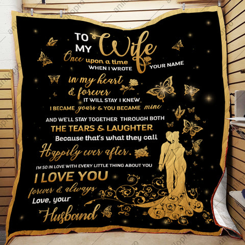 Image of QUILT - HUSBAND TO WIFE - WROTE YOUR NAME IN MY HEART