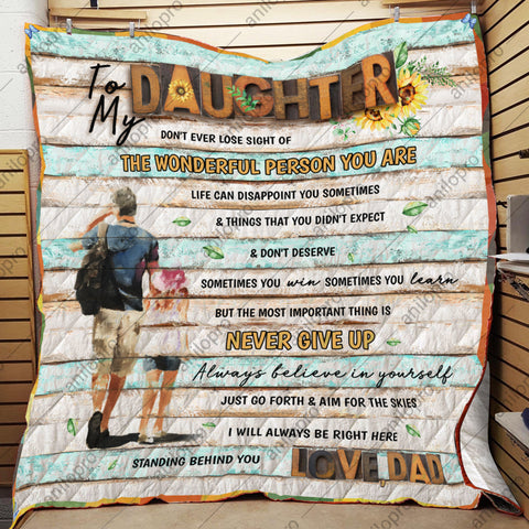 Image of QUILT - DAD TO DAUGHTER - NEVER GIVE UP