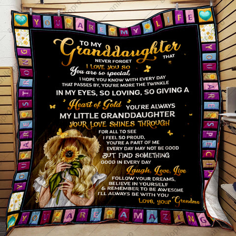 QUILT - GRANDMA TO GRANDDAUGHTER - HEART OF GOLD