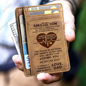 DAD TO SON, LEATHER ENGRAVED CARD WALLET - YOU ARE THE BEAT OF MY HEART