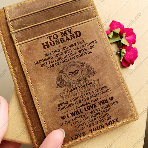 TO MY HUSBAND, LEATHER ENGRAVED CARD WALLET - MEETING YOU WAS FATE