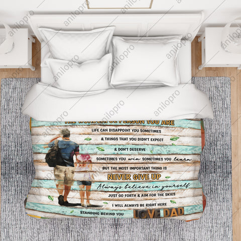 Image of [Q1021] QUILT - DAD TO DAUGHTER - NEVER GIVE UP