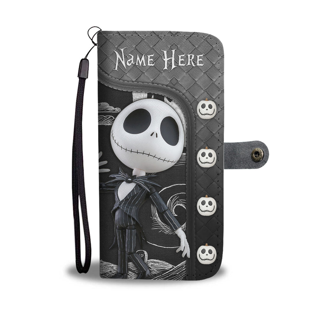 Girl Loves Jack Skellington Custom Name Black Wallet Case
