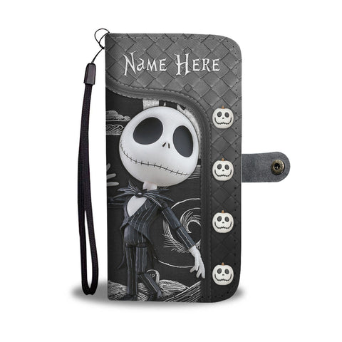 Image of Girl Loves Jack Skellington Custom Name Black Wallet Case