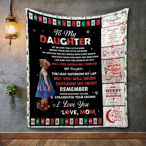Image of QUILT - MOM TO DAUGHTER - NEVER OUTGROW MY HEART