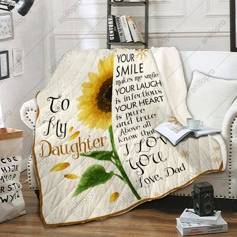 Image of QUILT - DAD TO DAUGHTER - YOUR SMILE MAKES ME SMILE