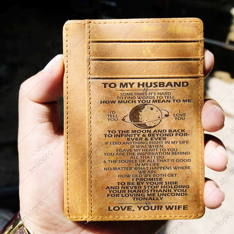 TO MY HUSBAND, LEATHER ENGRAVED CARD WALLET - LOVE YOU TO THE MOON AND BACK