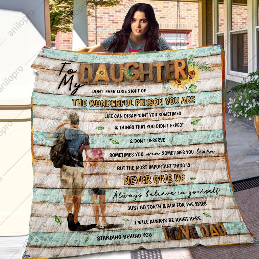 [Q1021] QUILT - DAD TO DAUGHTER - NEVER GIVE UP