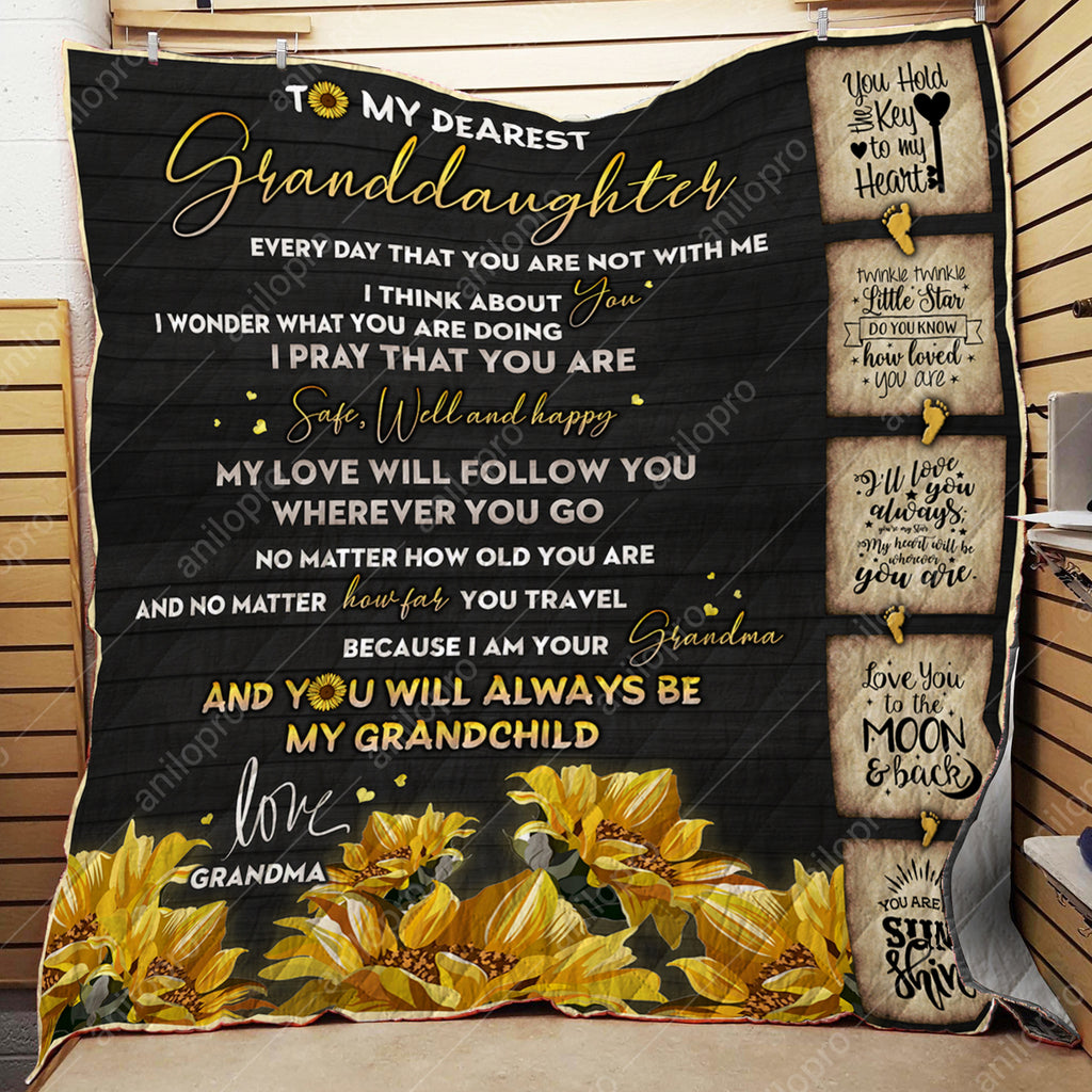[Q1031] QUILT - GRANDMA TO GRANDDAUGHTER - SAFE, WELL AND HAPPY