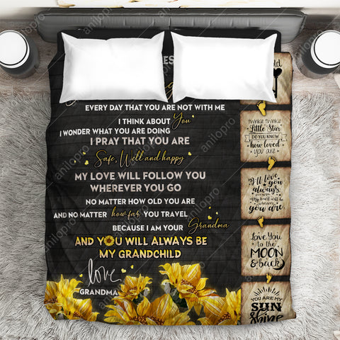 Image of [Q1031] QUILT - GRANDMA TO GRANDDAUGHTER - SAFE, WELL AND HAPPY