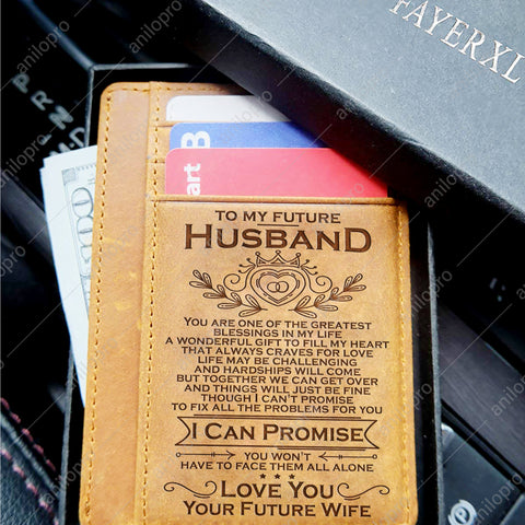 TO MY FUTURE HUSBAND, LEATHER ENGRAVED CARD WALLET - I CAN PROMISE